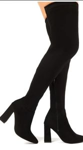Public Desire Over the Knee Suede Black Boots new